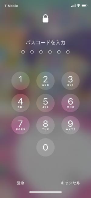 iPhone パスコード入力画面