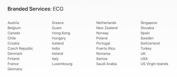Apple 心電図機能利用可能国・地域(2020/6/6)