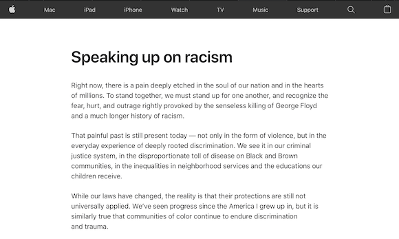 Apple「Speaking up on racism」