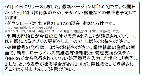 厚生労働省 「新型コロナウイルス接触確認アプリ(COCOA)」 2020年6月21日