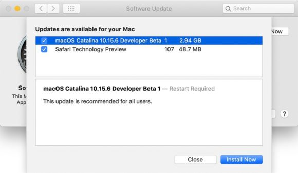 macOS Catalina 10.15.6ベータ1