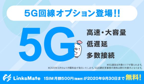 LinksMateの5G回線オプション