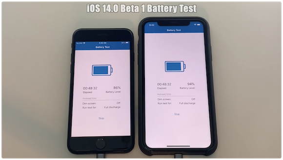 iOS14ベータ1 iOS13.5.1 バッテリー比較