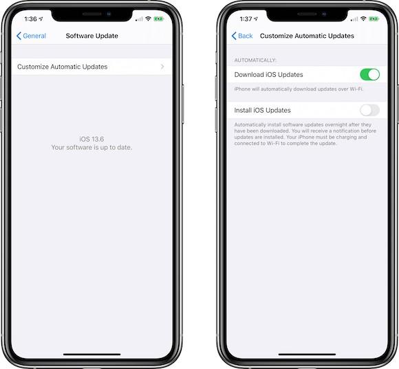 iOS13.6 ベータ iOSアップデートオプション