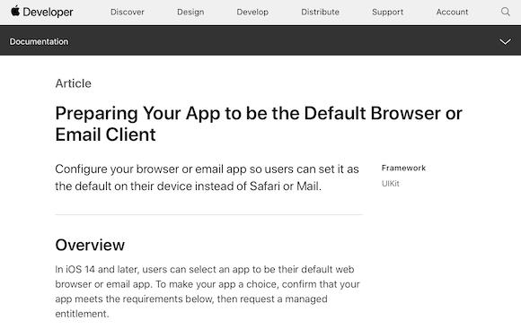 Apple iOS14 開発者向け ブラウザ メール 要件