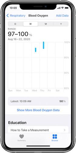 Apple 血中酸素ウェルネスの測定結果