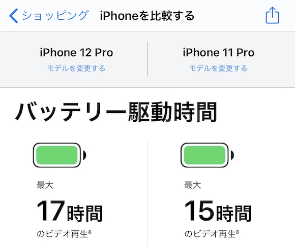 Apple Storeアプリ iPhone12 Pro バッテリー比較