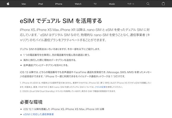 Apple eSIM デュアルSIM iPhone