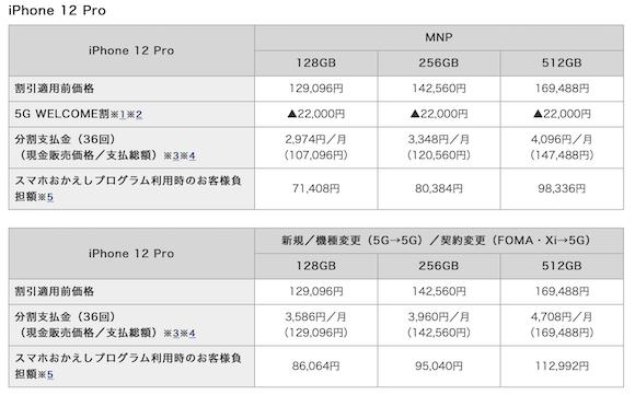 NTTドコモ iPhone12 Pro 価格