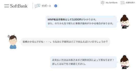 ソフトバンク MNP 転出手数料