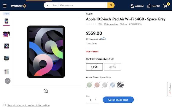 Walmart iPad Air(第4世代) 売り切れ