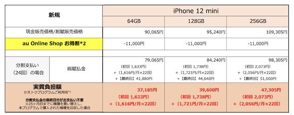 au iPhone12 mini 新規