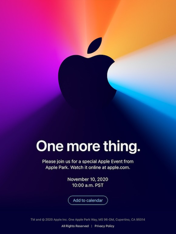 Apple 2020年11月 イベント One more thing.