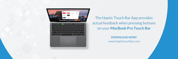 Haptic touch bar banner