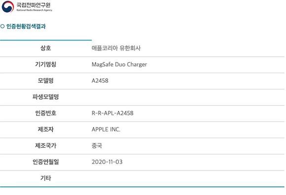 MagSafe Duo MagSafeデュアル充電パッド 韓国 NRRA